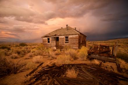 Beneath Autumn Skies, an Abandoned House, Mono Lake, California.