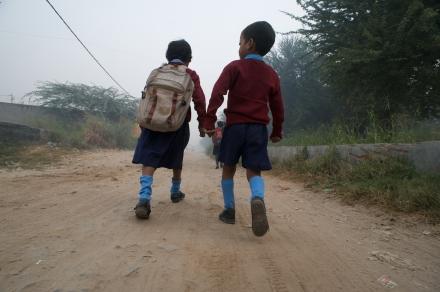 Jamima's siblings on the walk to school