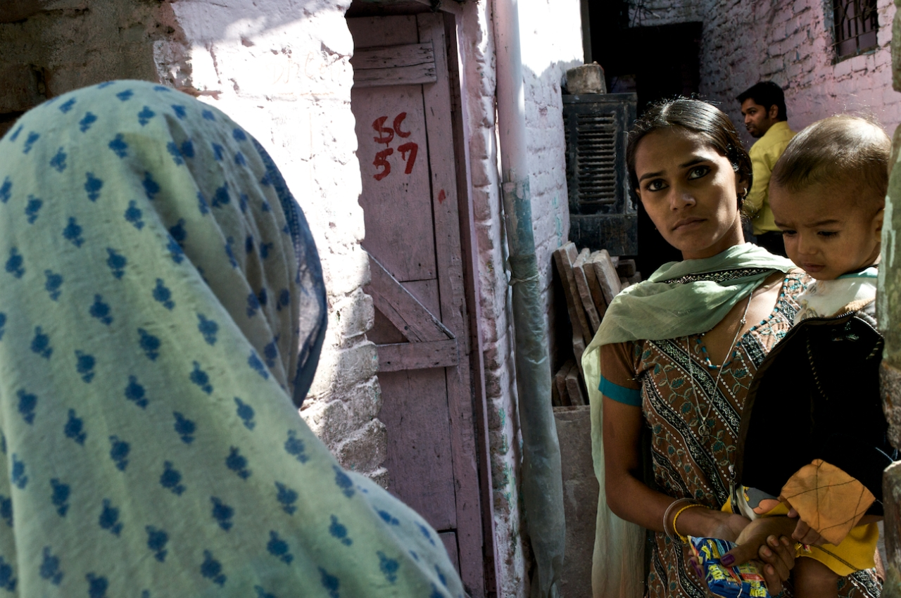 Walking through the narrow alleyways of Dakshinpuri, Delhi.