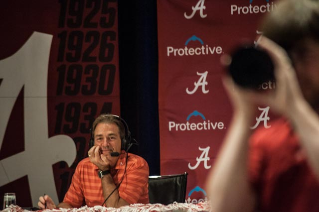 Coach Nick Saban appears relaxed leading into the game