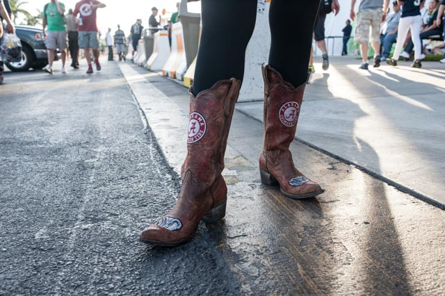 A Bama fan's boots do some talking