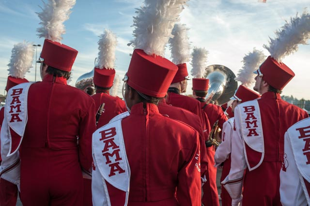 The Bama band heads towards a pep rally
