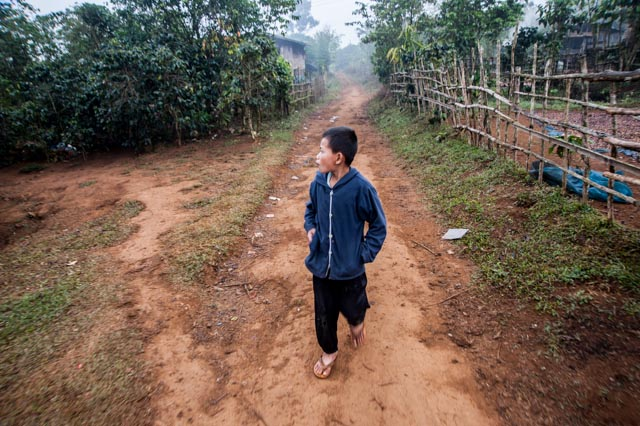 Boy on a village road