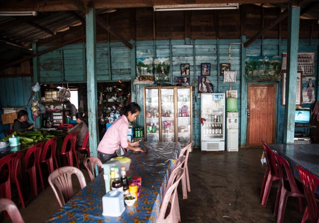 A roadside restaurant on the Bolaven Plateau
