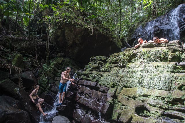 My friends hanging out in a secluded waterfall in Yunque Rain Forest