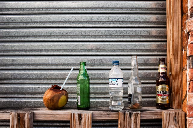 Remnants of the previous night at a food vendor stall near Luquillo