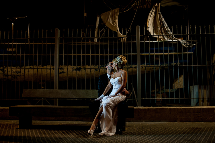 A wedding couple near the old Jaffa Port in Tel Aviv