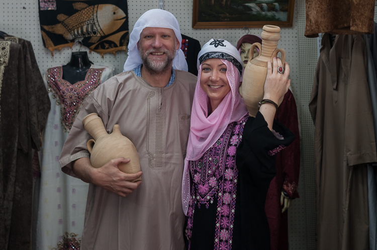 Me and an Austrian tourist trying on traditional wedding clothing.