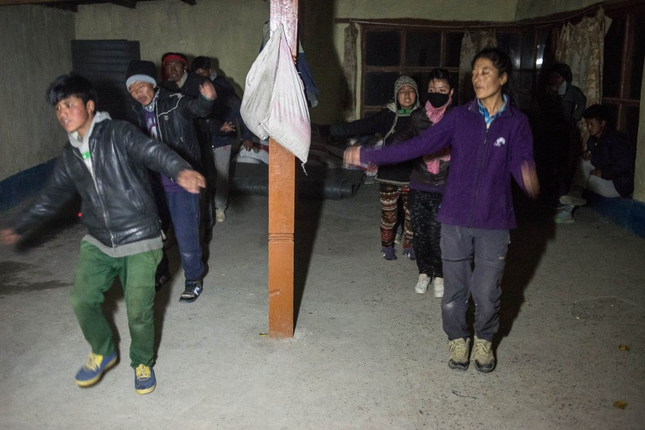 The night we stayed in Sumdho, we were treated to young Tibetans practicing the Tibetan dances that they will perform during the summer.